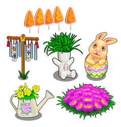easter symbols plants in vases and flower bed vector image