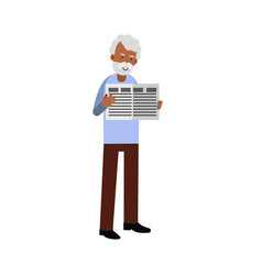 elderly man character standing and reading a vector image vector image