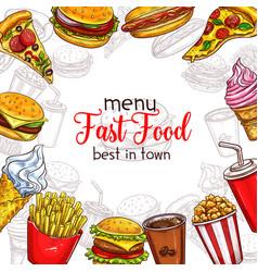 fast food sketch menu template vector image vector image