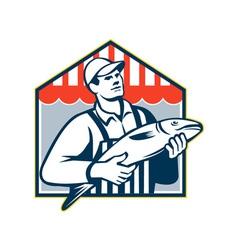 Fishmonger Holding Fish Retro vector image