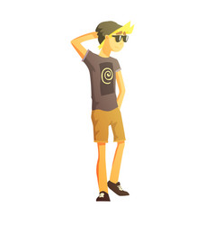 Guy in shades black hat shorts and t-shirt vector