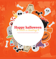 halloween concept banner with flat icon set on vector image