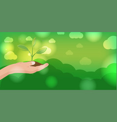 Hand hold nature leaf plant vector