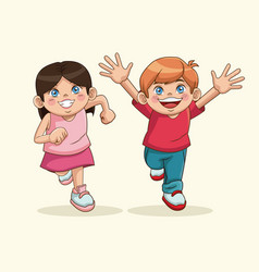 Happy children day boy and girl sweet children vector