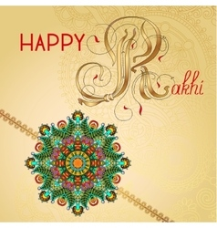 Happy rakhi greeting card for indian holiday vector