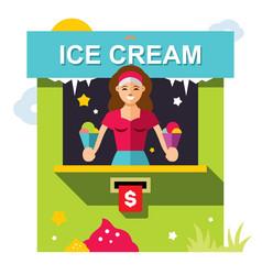 ice cream outdoor kiosk flat style vector image vector image
