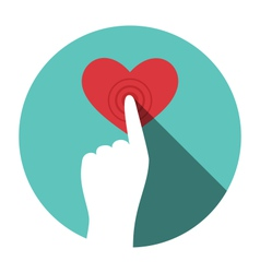 Icon with hand touching heart isolated on white vector image
