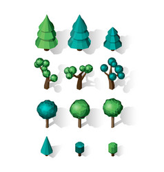 Isometric tree set landscape constructor vector