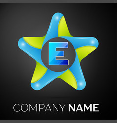 Letter e logo symbol in the colorful star on black vector