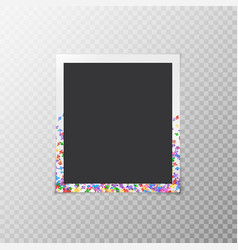 Photo frame with bright confetti vector
