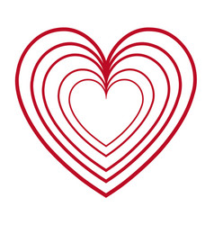 red heart love romantic feeling decoration vector image vector image