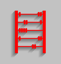 Retro abacus sign red icon with soft vector