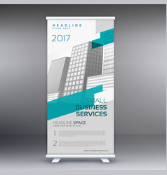 roll up banner standee design template in gray vector image vector image
