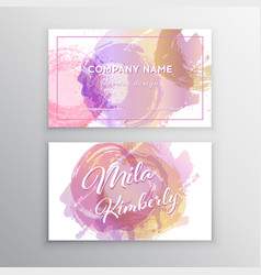 set of pink and gold design business card vector image