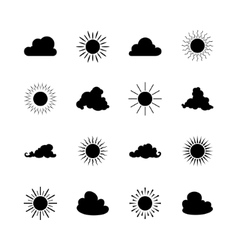 Set of Sun and Cloud Shapes vector image