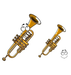 Shining brass trumpet cartoon character vector