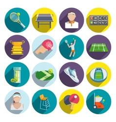 Tennis icons flat set vector image
