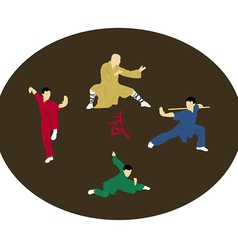 The four men are engaged kung fu vector