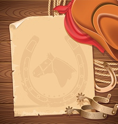 Wild west background with cowboy hat and american vector image vector image