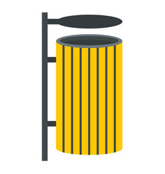 Yellow litter waste bin icon isolated vector
