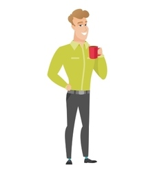 Young caucasian businessman holding cup of coffee vector