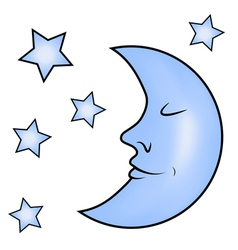 Blue moon and stars vector