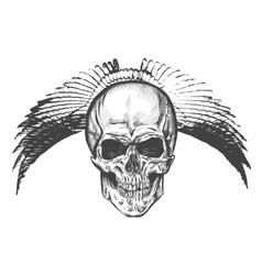 Hand drawn winged skull eps vector