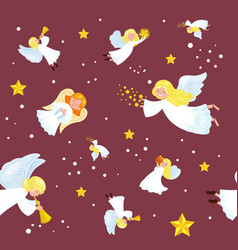 Christmas holiday flying angel in the sky with vector