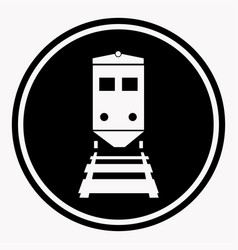 Warning sign attention train symbol black circle vector
