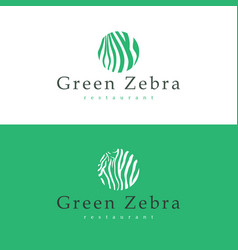 Design business card restaurant green zebra vector