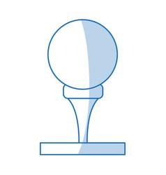 blue shading silhouette cartoon golf ball on tee vector image