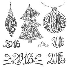2016 year typography hand drawn title setblack vector