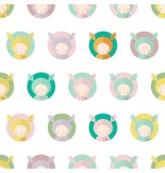 Characters deers kids seamless background vector