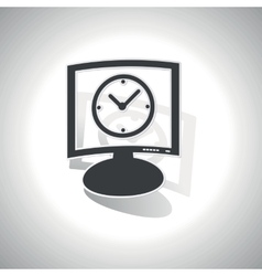 Curved clock monitor icon vector