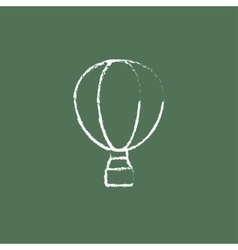 Hot air balloon icon drawn in chalk vector