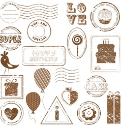 Birthday stamps vector