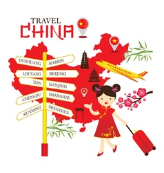 Chinese girl travel china with direction sign vector