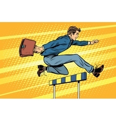 Businessman running hurdles vector
