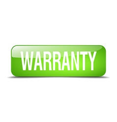 Warranty green square 3d realistic isolated web vector