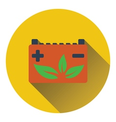 Car battery with leaf icon vector
