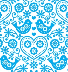 Folk art seamless blue pattern with flowers vector
