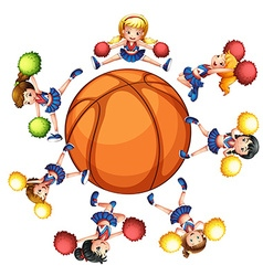 Happy cheerleaders around basketball vector image