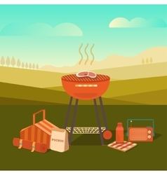 a barbecue outdoors vector image vector image