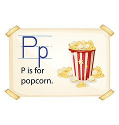 A letter P for popcorn vector image vector image
