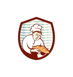Baker holding bread loaf shield retro vector