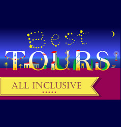 Best tours all inclusive night beach vector