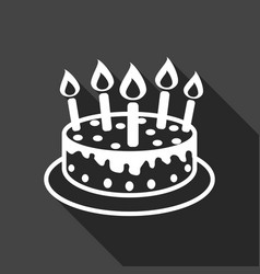 birthday cake with burning candles pictogram icon vector image