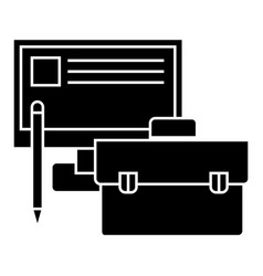 Business perfomance - monitor case pencil icon vector