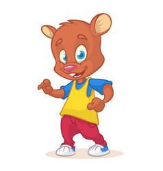 cartoon bear dancing vector image vector image