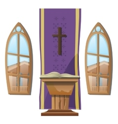 Catholic altar and windows interior of Church vector image
